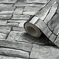 Arrou Grey Stone effect Smooth Wallpaper