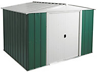 Arrow Greenvale 10x8 Apex Green & white Metal Shed with floor
