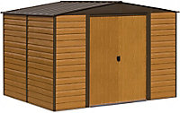 Arrow Woodvale 10x8 Apex Coffee Metal Shed with floor