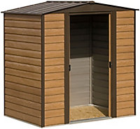 Arrow Woodvale 6x5 Apex Coffee Metal Shed with floor