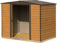 Arrow Woodvale 8x6 Apex Coffee Metal Shed with floor