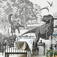 Art for the Home Black & white Sketched dinosaur Matt Mural