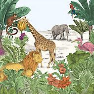 Art for the Home Multicolour Watercolour jungle Matt Mural