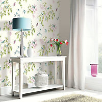 Arthouse Vintage Halcyon days Cream Birds, butterflies & trees Glitter effect Smooth Wallpaper