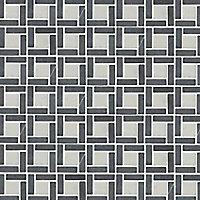 Articha Black & white Natural stone Border tile, (L)300mm (W)50mm