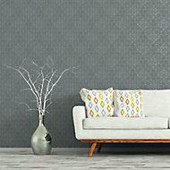 As Creation Bjorn Grey Geometric Metallic effect Textured Wallpaper