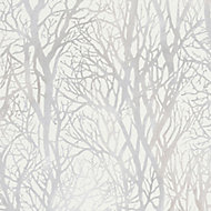 As Creation Life 4 White Tree Silver effect Textured Wallpaper