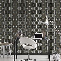 As Creation Retro motif Black, brown & grey Geometric Embossed Wallpaper