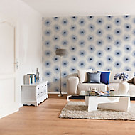As Creation Xray Blue & white Floral Pearl effect Textured Wallpaper