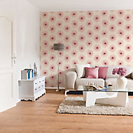 As Creation Xray Red & white Floral Pearl effect Textured Wallpaper