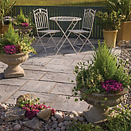 Ashbourne Weathered grey Paving set 9.72m², Pack of 48