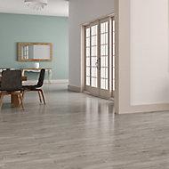 Ashdown Grey Matt Wood effect Porcelain Wall & floor tile, Pack of 8, (L)900mm (W)150mm