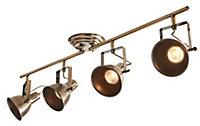 Asterion Antique brass effect Mains-powered 4 lamp Spotlight