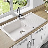 Astracast Equinox Gloss White Ceramic 1 Bowl Sink & drainer