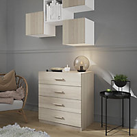 Atomia freestanding Brown oak effect 4 Drawer Single Deep Chest of drawers (H)804mm (W)750mm (D)466mm
