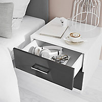 Atomia Freestanding Gloss white Particleboard 2 Drawer Bedside table (H)429mm (W)500mm (D)466mm