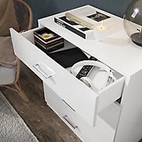 Atomia freestanding Matt & high gloss white 4 Drawer Single Deep Chest of drawers (H)804mm (W)750mm (D)466mm