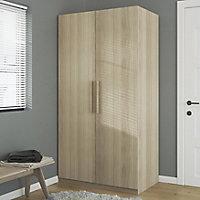 Atomia Freestanding Scandinavian Matt oak effect Large Double Wardrobe (H)1929mm (W)1000mm (D)596mm