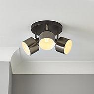 Aurora Pewter & black Gun metal effect Mains-powered 3 lamp Spotlight