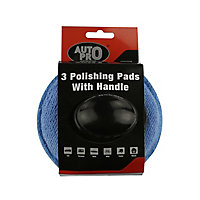 AutoPro accessories Blue Microfibre Applicator pad, Pack of 3