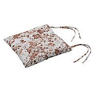 Autumn leaf & white Floral Seat pad