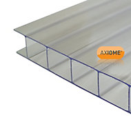 Axiome Clear Polycarbonate Twinwall Roofing sheet (L)3m (W)1000mm (T)10mm