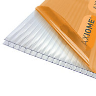 Axiome Clear Polycarbonate Twinwall Roofing sheet (L)3m (W)690mm (T)6mm