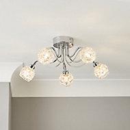Axis Transparent Chrome effect 5 Lamp Bathroom Ceiling light