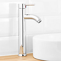 Ayas 1 lever Chrome-plated Tall Contemporary Basin Mono mixer Tap