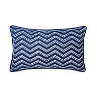 Azur Herringbone Blue & white Cushion (L)30cm x (W)50cm