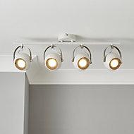 Azure Matt White Nickel effect Mains-powered 4 lamp Spotlight bar