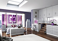 Azzurro Contemporary Assembly not required High gloss grey & white 2 Drawer Tall Double Wardrobe (H)1970mm (W)740mm (D)530mm