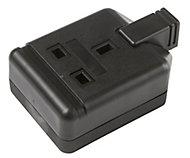 B&Q Black 13A 1 Gang Unswitched Trailing socket