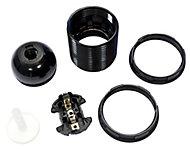 B&Q Black Edison screw cap (E27) Lampholder