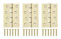 B&Q Brass effect Metal Butt Door hinge (L)100mm N428, Pack of 3