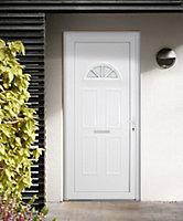 B&Q Carolina Frosted Glazed White uPVC LH External Front Door set, (H)2055mm (W)920mm