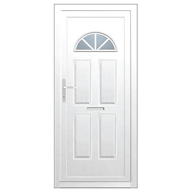 B Q Carolina Frosted Glazed White Upvc Rh External Front Door Set H 2055mm W 920mm Diy At B Q