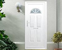 B&Q Carolina Frosted Glazed White uPVC RH External Front Door set, (H)2055mm (W)920mm