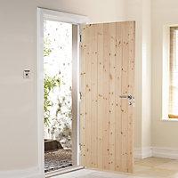 B&Q Ledged & braced Redwood veneer LH & RH External Back Door, (H)1981mm (W)838mm