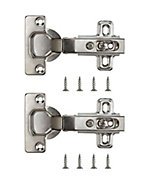 B&Q Nickel-plated Metal Unsprung Concealed hinge (L)35mm, Pack of 2