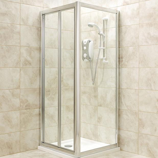 B Q Square Shower Enclosure With Bi Fold Door W 760mm D 760mm Diy At B Q