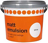 B&Q White Matt Emulsion paint, 5L