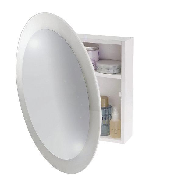 B Q White Ultra Slimline Mirrored Round Bathroom Cabinet W 350mm Diy At B Q