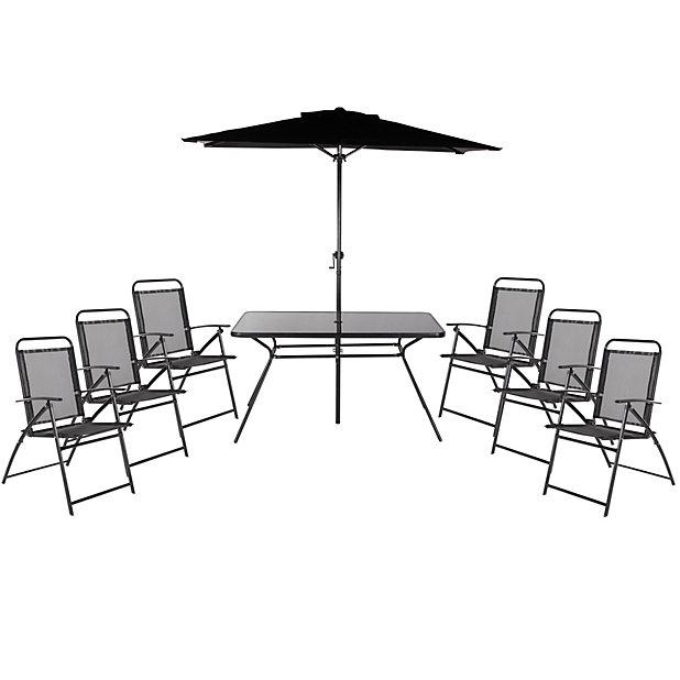 Bahama Metal 6 Seater Dining Set Parasol Diy At B Q