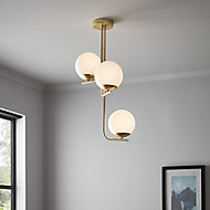 Baldaz Brushed Brass effect 3 Lamp Pendant ceiling light, (Dia)400mm