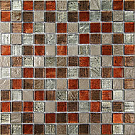 Bangkok Multicolour Stone effect Glass & marble Mosaic tile, (L)300mm (W)300mm