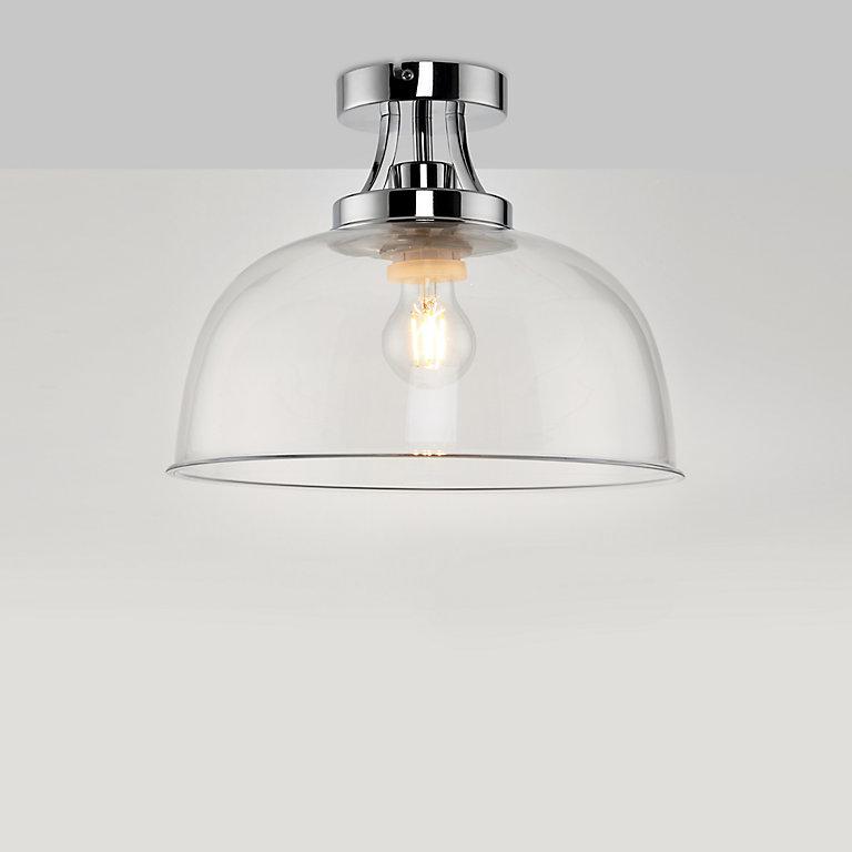 Bason Brushed Chrome Effect Bathroom, Bathroom Dome Light