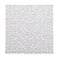 Batumi Transparent Polyvinyl chloride (PVC) Non-reversible Slip resistant Square Bath mat, (L)520mm (W)520mm (T)5mm