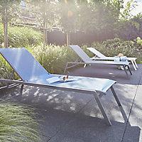 Batz Steel grey Metal Sun lounger