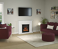 Be Modern Evelina Black & white Chrome effect Electric Fire suite